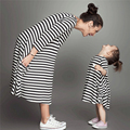2016 European And American Fashion Girl And Mother Mom Baby Clothes Spring Arrivals Stripe Dress Cute Girl In A Wedding Suit
