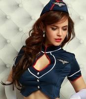 7pcs Cosplay Sexy Stewardess Uniforms Women Lingerie Stewardess Costume Dress with Top\skirt\Hat\gloves\socks\stockings\t shirts