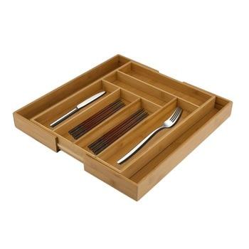 Bamboo Expandable Cutlery Divider Tableware Sundries Storage Drawer Organizer Storage Tray Home Kitchen Storage Board Divider  organisation tiroir ustensile cuisine