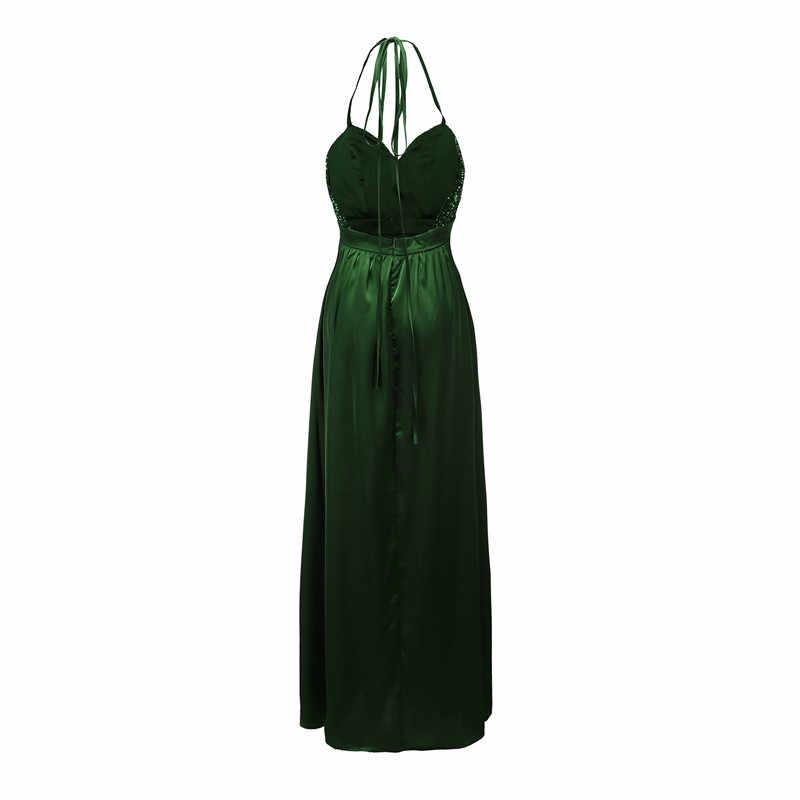 Зеленого цвета с блестками, с низким вырезом на спине, с блестками вечерние платья Длинные Для женщин Пикантные ботфорты Макси летнее платье в стиле ампир с v-образным вырезом Спагетти ремень женские платья