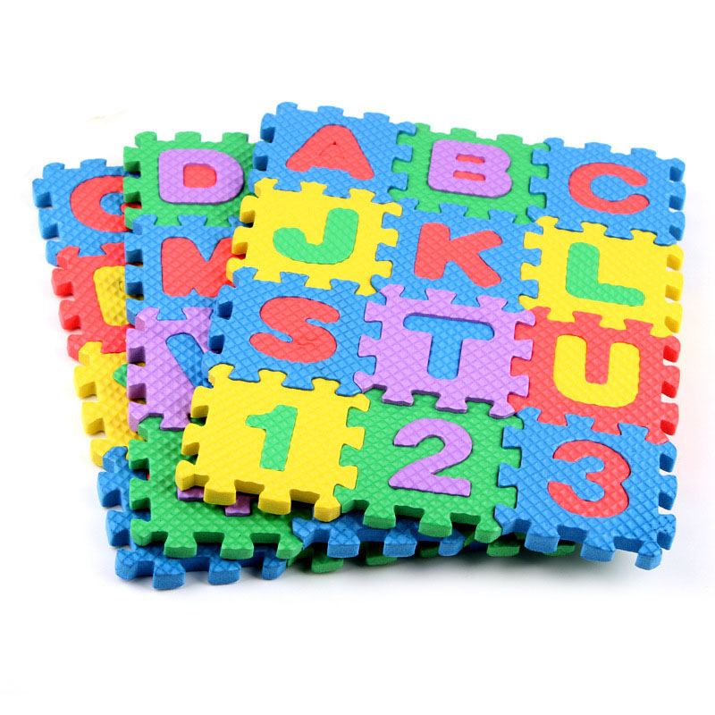 36pcs Early Childhood Education Tool Foam Carpet Cartoon Letter Digital Puzzle Baby Crawling Mat Creative Language Learning Tool