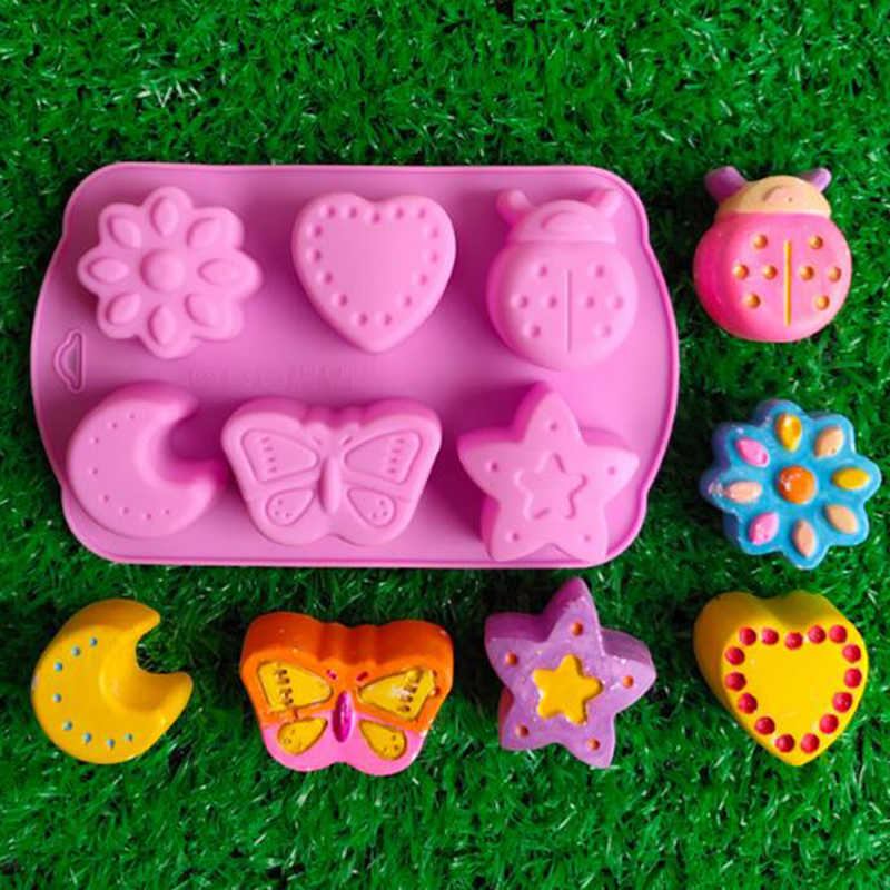 6 Different Shapes DIY Handmade Silicone Soap Mold Chocolate Biscuit Fondant Cake Creative Production Template