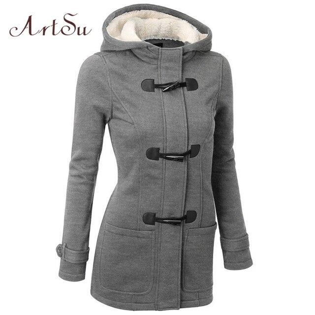 ArtSu Cotton Jackets Winter & Autumn Roupas Novas Mulheres Casaco Longo Casaco Parka Quente Grosso Plus Size Casacos De Pele Gola ASCO20009