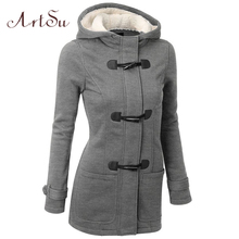 ArtSu Winter&Autumn Cloting New Coats Collar Cotton Jackets Women Jacket Long Warm Parka Coat Plus Size Thick Fur  ASCO20009
