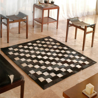 Contemporary Leather Natural Cowhide Patchwork Area Fur Rug Black Ivory