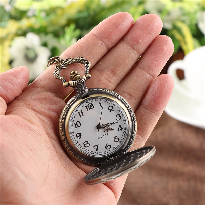 Alice In Wonderland Theme Bronze Quartz Pocket Watches Vintage Fob Watches Time In The Pocket For Christmas Brithday Girl Gift