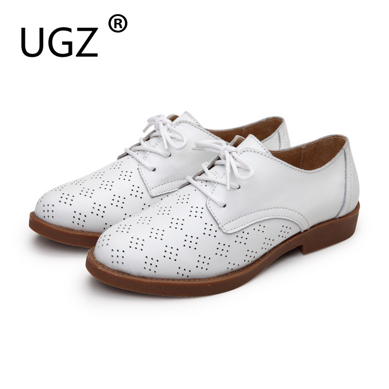 UGZ Pigskin Sole Cow Leather Oxfords Flats Woman ,Black White Shoes Lace Up Sping New Style Hollow Sandals Sapatos Femininos siketu best gift baby flats tassel soft sole cow leather shoes infant boy girl flats toddler moccasin bea6624