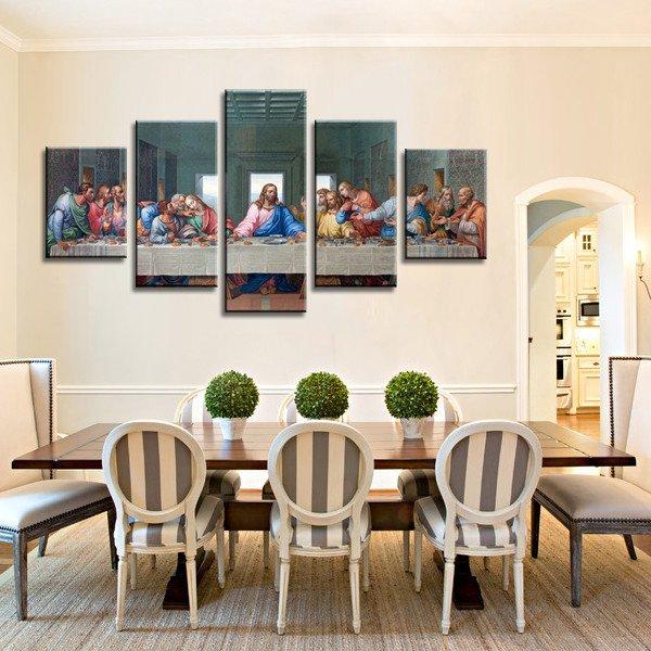 5 Panels Canvas Prints The Last Supper Multi Panel Prints Canvas