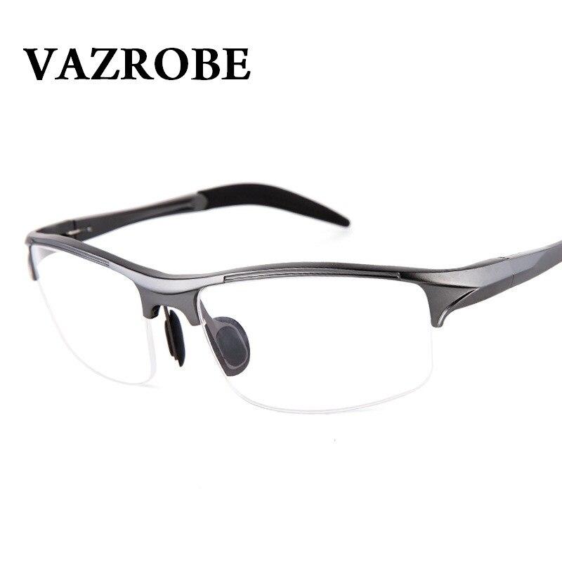 Vazrobe (146mm) Eyeglasses Frame Men Sports Spring hinge Eye Glasses Male half rim prescription Spectacles Man myopia diopter