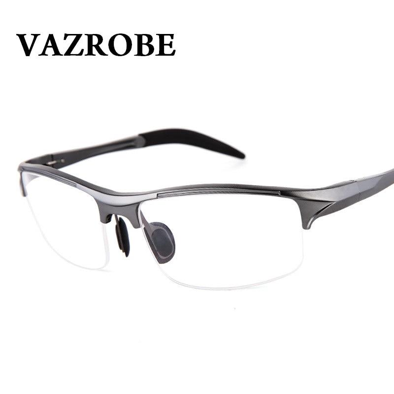 1cccdab375b Vazrobe (146mm) Eyeglasses Frame Men Sports Spring hinge Eye Glasses Male  half rim prescription