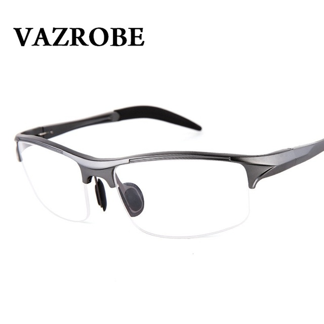9a46fe43ef Vazrobe (146mm) Eyeglasses Frame Men Sports Spring hinge Eye Glasses Male  half rim prescription