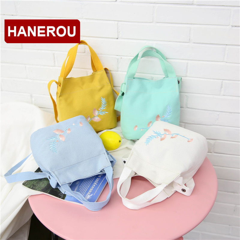 HANEROU Candy Colors Women Canvas Bucket Bag Wide Strap Shoulder Bag Women's Embroidery Flower Handbag Crossbody Bags For Girls цена и фото