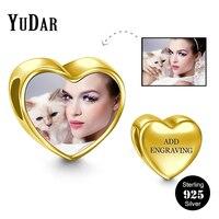 YUDAR 925 לב כסף תמונה הודעות קסם לצמיד Engravable מתנות מותאמות אישית עבור אוהבי משפחת YDS-1112G