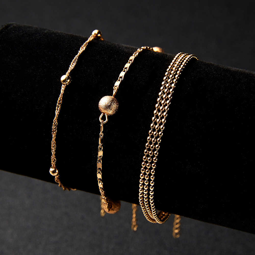 2019 New Fashion Women Stainless Steel Charm Cuff Bracelet Bead Bangle Gold Chain Jewelry For Gifts Wholesale