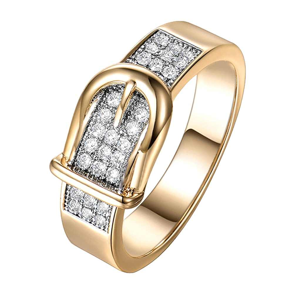 1PC Luxury  Personality Dazzling Micro-inlaid Belt-shaped Rings For Women Men anillos anel