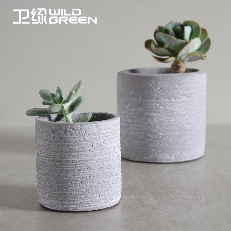 Textured Gray Cement Round Shape Flower Pots Indoor Cactus