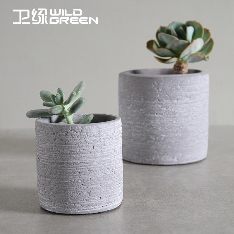 Textured Gray Cement Round Shape Flower Pots Indoor Cactus