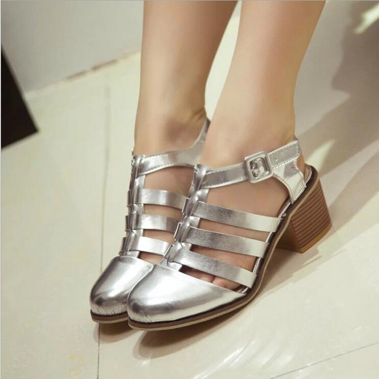 Fashion Closed Toe Caged Summer Women Shoes PU Leather High Heel Gladiator Sandals Chunky Thick Heel  36