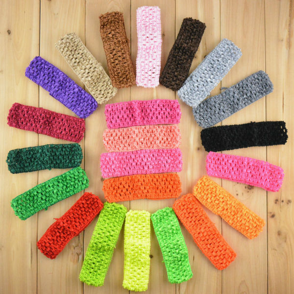 Wholesale 300pcs lot 1 5 Inch Girl Crochet Headbands DIY Head Band Headwear 38 Color Free