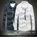 Large Size Korean version of Camisa Social Masculina Casual Men Shirt Long Sleeve Floral Shirt Male Luxury Slim Fit Shirt 2016