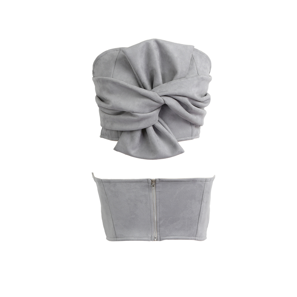 db0662efeb3 Women Suede Cropped Top Bow Front Slash Neck Sleeveless Back Zipper Crop  Tube Tops Pink Grey Crop Top-in Tank Tops from Women s Clothing on  Aliexpress.com ...
