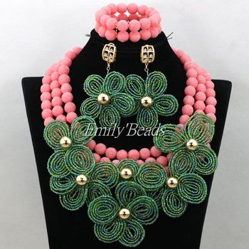 Amazing Nigerian Bead Necklaces Wedding Peach Pink Coral Beads Set African Costume Jewelry Set Green Flower For Woman CJ642