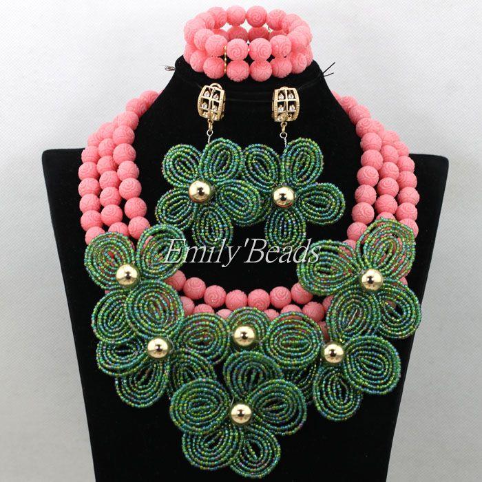 Incroyable nigérian perle colliers de mariage pêche rose corail perles ensemble africain Costume bijoux ensemble fleur verte pour femme CJ642