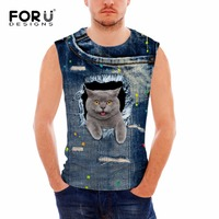FORUDESIGNS Fitness Women Summer Tank Tops Cute 3D Jeans Cats Animal Mens Bodybuilding Slim Vest For