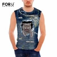 FORUDESIGNS Fitness Women Summer Tank Tops Cute 3D Jeans Cats Animal Mens Bodybuilding Slim Vest For
