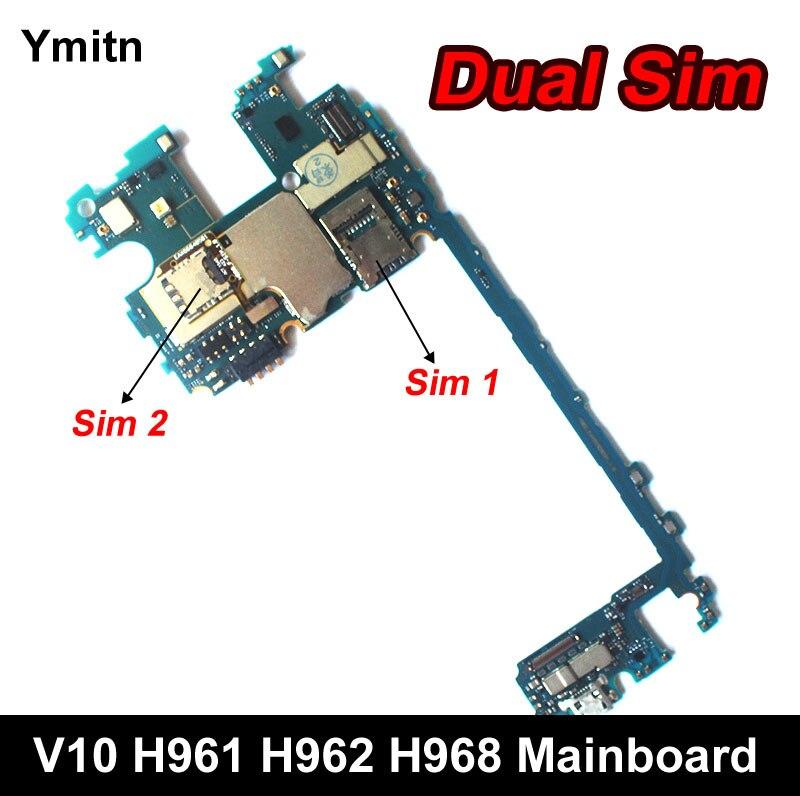 Ymitn Débloqué Mobile Électronique Panneau Carte Mère Carte Mère Circuits Flex Câble Pour LG V10 H961 H961N H968 H962 4 + 64 gb Double Sim