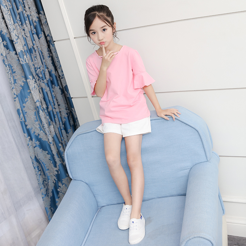 Fashion Short Sleeve T-shirt And Shorts Two Pieces Girls Sets Clothing Summer Active Korean Trendy Children Clothes Suits