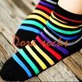1 lote = 5 pairs arco iris calcetines para mujer 100% algodón multicolor raya del bloque del color stockinets decoración calcetines de algodón calcetines caramelo