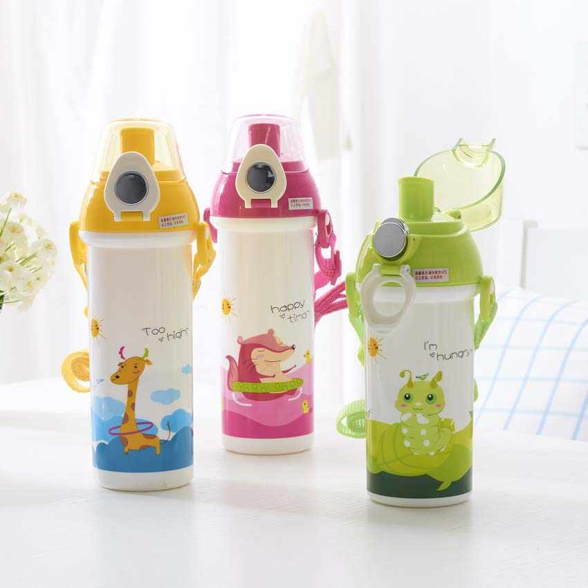 460ml/550ML Baby Cartoon Water Cup Food-Grade Plastic Outdoor Space My Drink Cup Children Bottles BPA Free