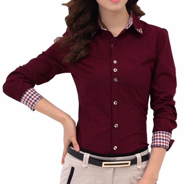 488acc4d254c Nuevo casual blanco blusa señoras sólido elegante turn-Down collar botón  Blusas camisa de manga
