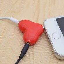 Mignon 1 Mâle à 2 Femelle 3.5 Jack Aux Audio Câble Casque coeur Musique Partager Splitter pour Apple iPhone 6 7 iPad iPod MP3 haut-parleur