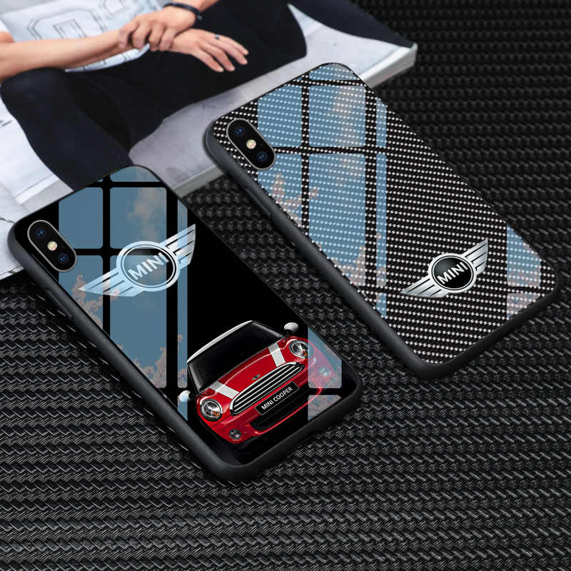 Kaca Tempered Mini Cooper Phone Case untuk iPhone X XS Max 11 Pro 6 6 S 7 7 Plus Samsung S8 s9 S10 Plus Note 8 9 MINI COOPER Kasus