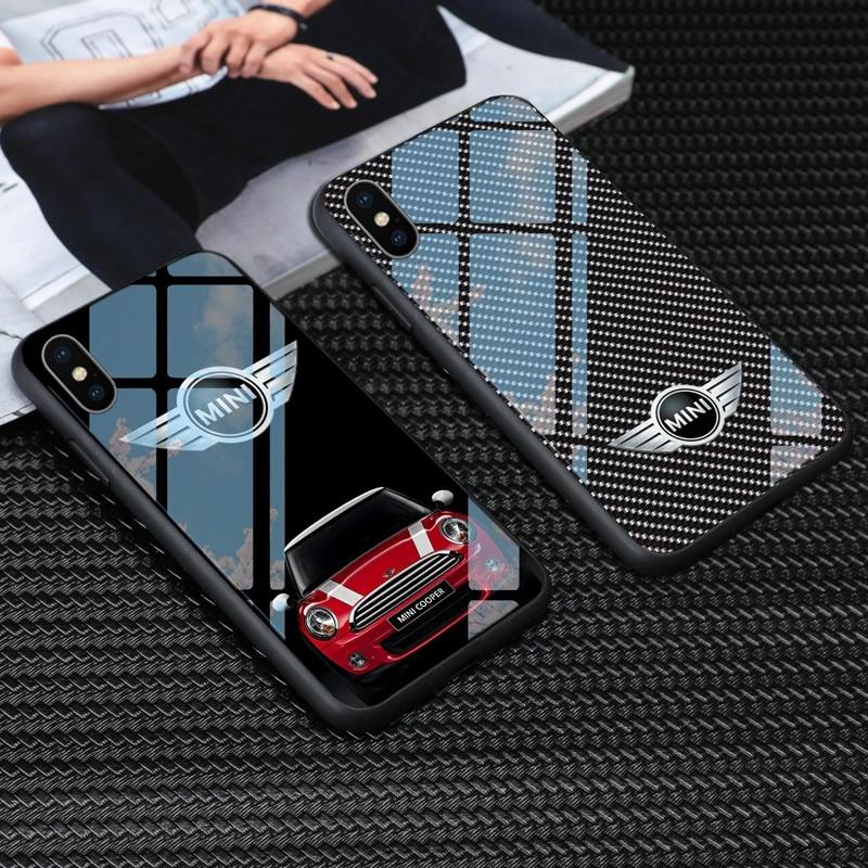Tempered glass Mini Cooper Phone Case for iphone 12 11 pro max xs xr x 6 6s 7 8 plus samsung s8 s9 s10 plus note 8 9 mini cooper