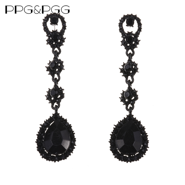 Ppg Pgg New Women Fashion Long Chain Black Stone Earrings Statement Water Drop Whole
