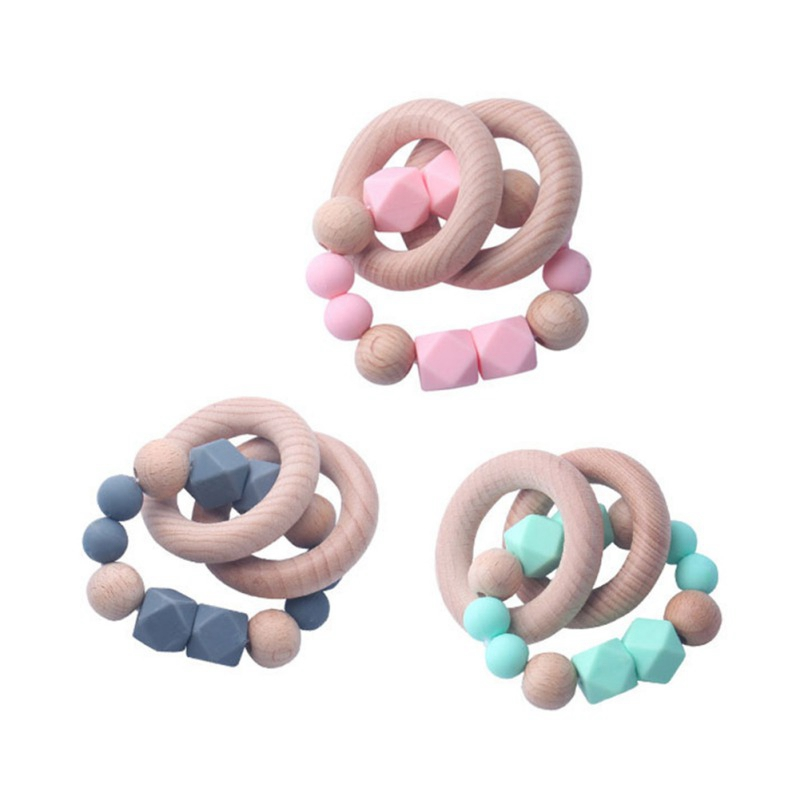 Baby Newborn Teeth Toys BPA Soft Silicone Chain Shape Easy To Handle Anti-Swallowing Silicone Beads Teether Toys