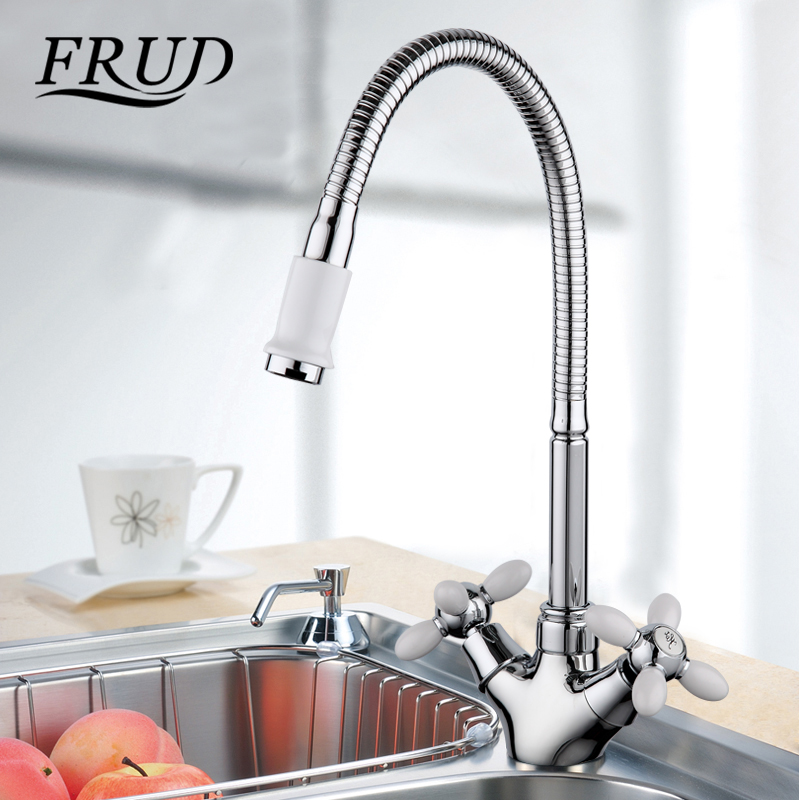 Frud Solid Kitchen Mixer Cold and Hot flexible Kitchen Tap Single ...