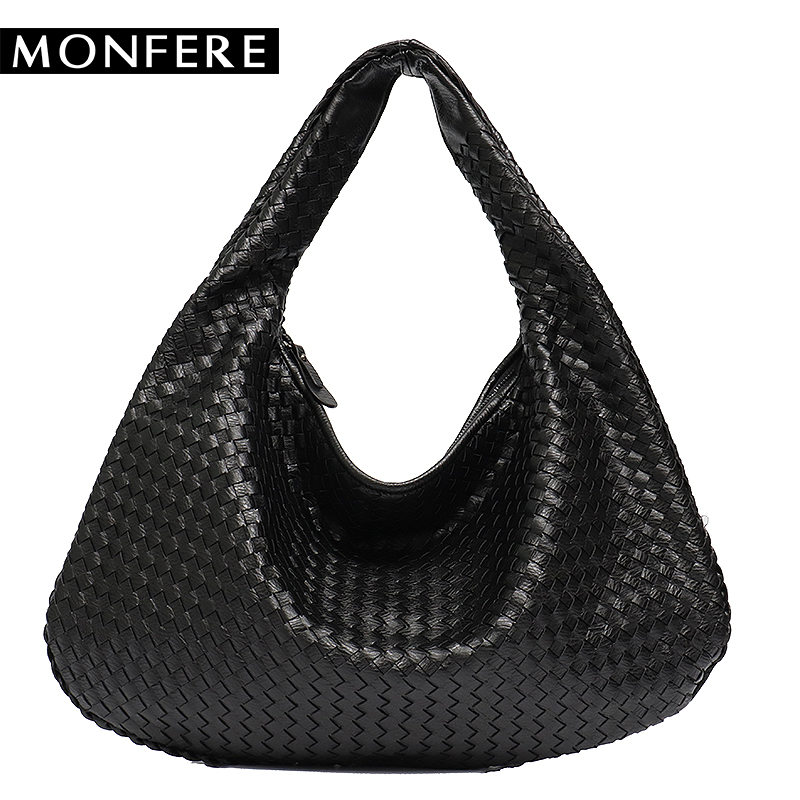MONFERE Brand New Vegan Leather Hobo Bag Handmade Woven Casual Female Handbag Bi
