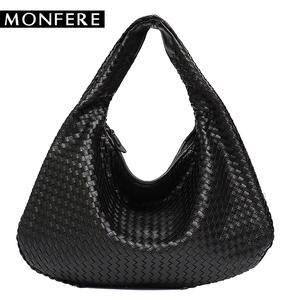 ab6ac9b12b MONFERE Leather Female Handbag Big Women Shoulder Bags