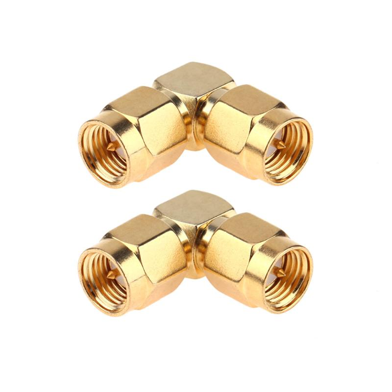 2Pcs 50 Ohm Connector Adapters SMA Male Head to SMA Male Right Angle 90 Degree Adapter Gold Plated Connector 4pcs gold plated right angle rca adaptor male to female plug connector 90 degree