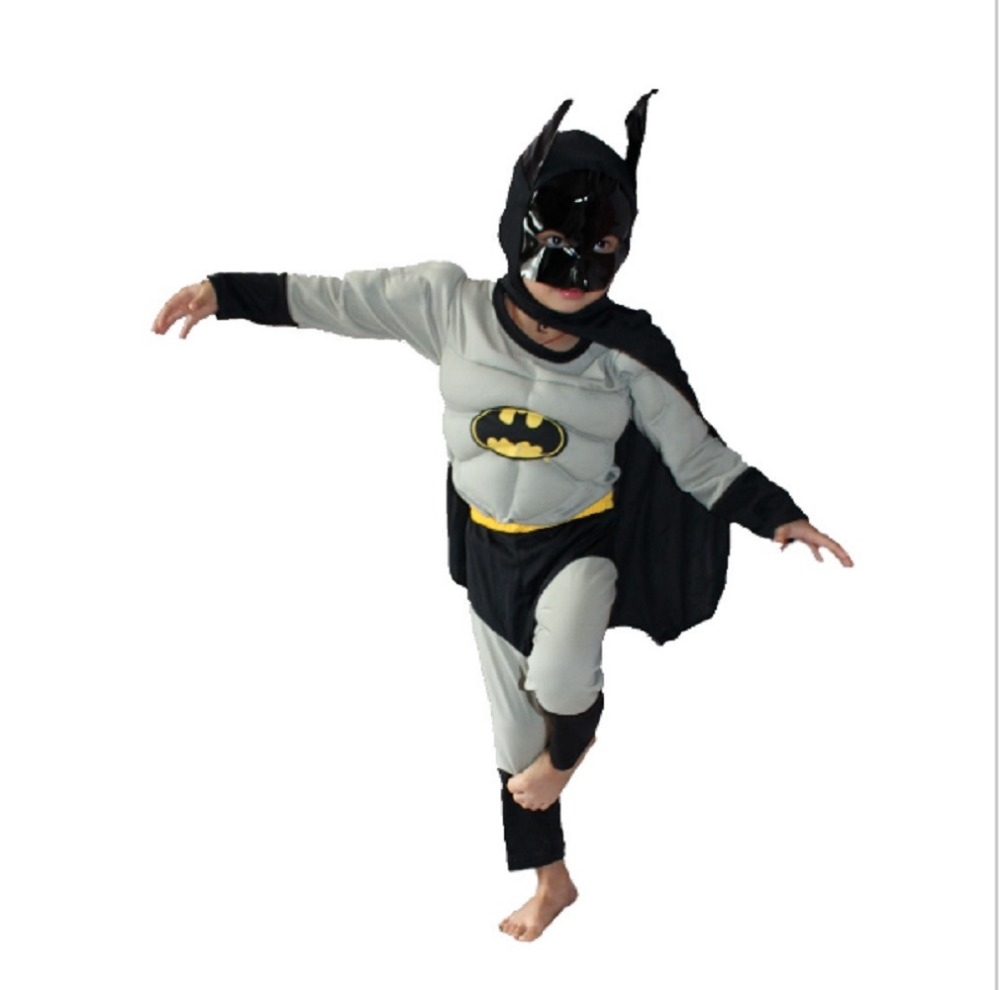 3-7Years Grey Batman Muscle Cosplay Halloween Party Costume Kids Batman Costume Kids Long Sleeve T-Shirt Set S-XXL