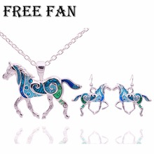 Free Fan Classic Silver Blue Horse Necklace Set Fashion Imitation Children Jewelry Sets For Women Man Party Birthday Gift 2018