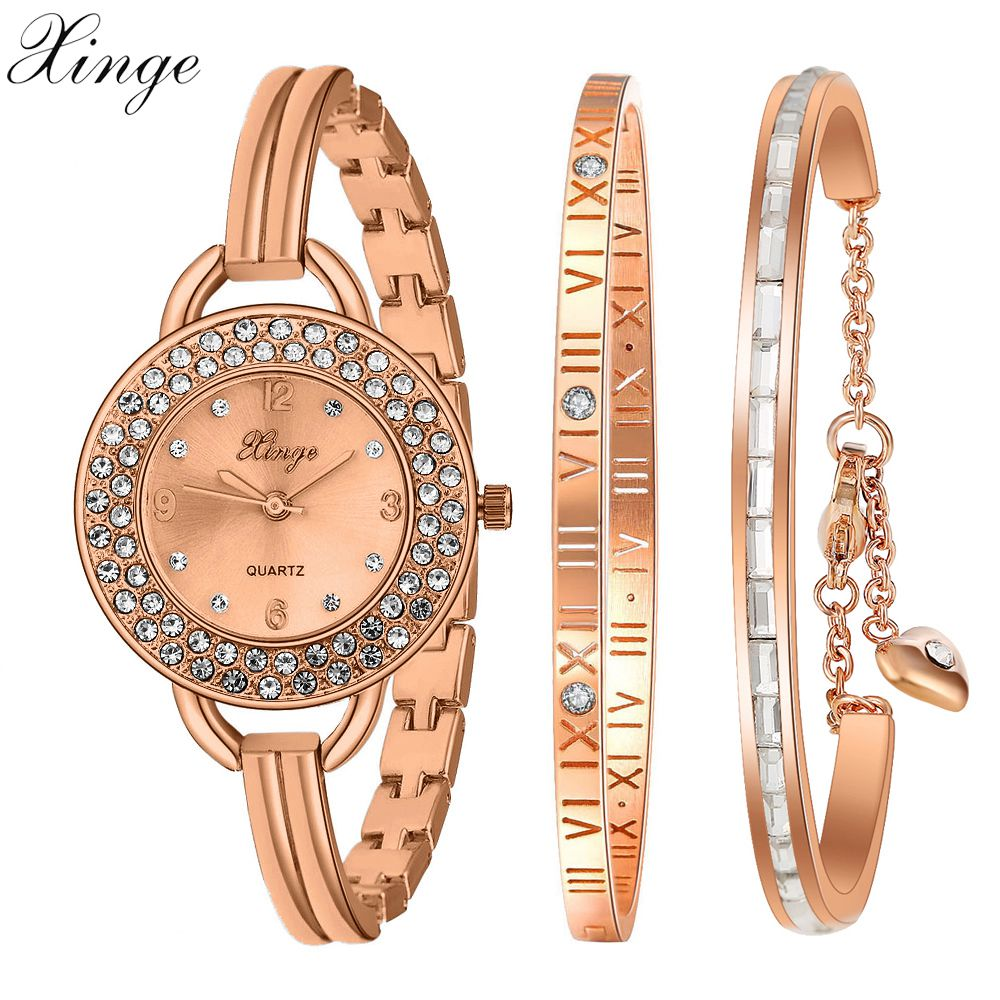 Xinge Top Brand 2018 Women Fashion Watches Bracelet Set Wristwatches Watches For Women Clock Girl Female Classic Quartz Watch серьги