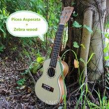 Tenor Ukulele Soprano Concert 21 23 26 Pulgadas Mini 4 Cuerdas Guitarra Ukelele Guitarra Picea Asperata Artesanal Uke Zebra Wood blanco