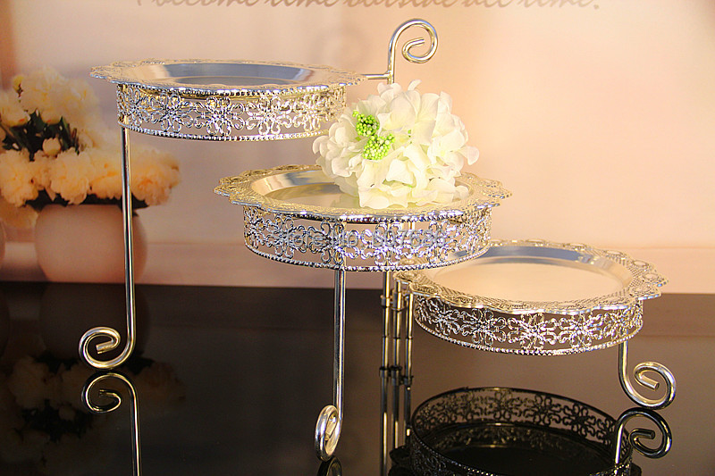 3 Tier Iron Wedding Cake Stand 30*60cm Kitchen Accessories Free Shipping Cake Display Cake Holder for Wedding Cake Supplies & 3 Tier Alloy Cake Stand with Dish Silvery Cupcake Holder Desserts ...