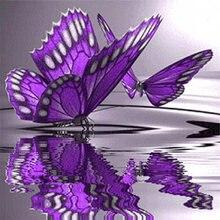 5d diy алмазная живопись вышивка крестиком фиолетовая бабочка