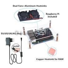 Raspberry Pi 3 Modelo B Starter Kit + Acrylic Clear Caso Caja Shell + 5 V 2.5A fuente de Alimentación del Interruptor + Ventilador De Refrigeración y disipadores de calor